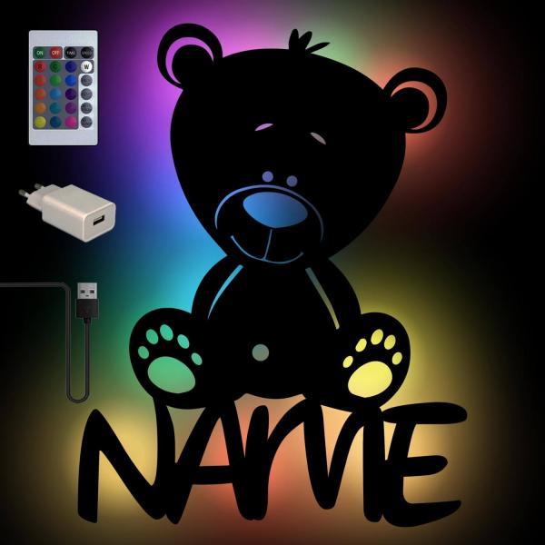 Bärchen Bär Nachtlicht mit Farbwechsel und Namen
