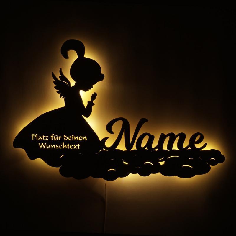 - Baby Geschenk Schutzengel auf Wolken mit Name - Onlineshop Schlummerlicht24