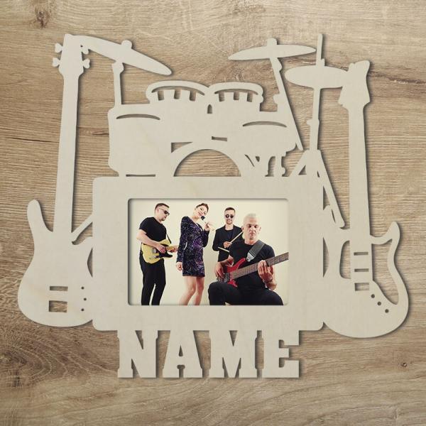 Bilderrahmen für Musiker Rockband Geschenkidee Wand Deko Unbehandelt