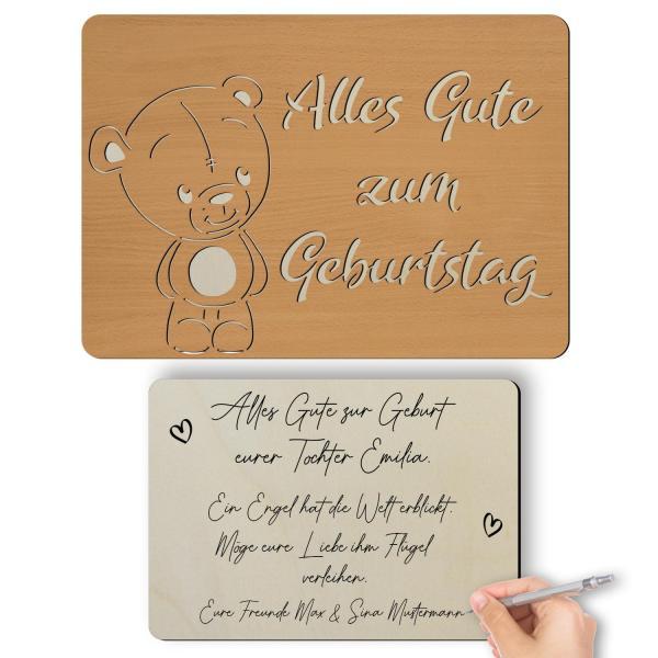 Glückwunschkarte aus Holz Teddy zum Geburtstag