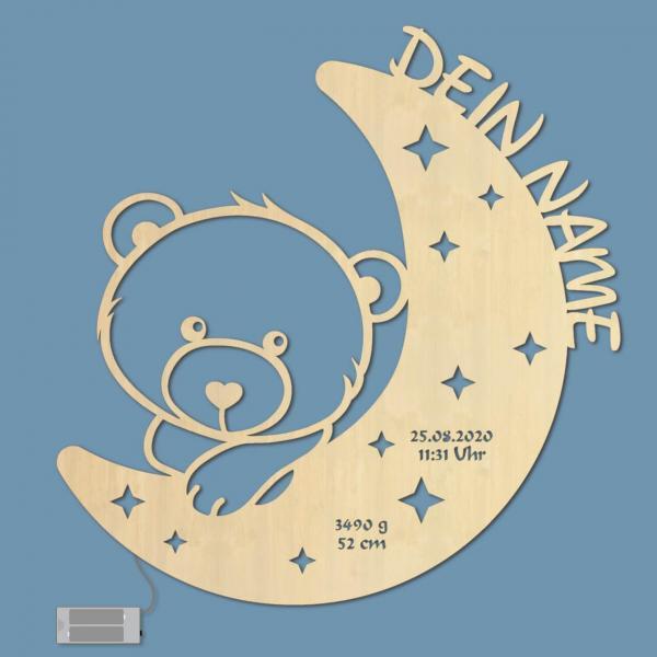 Nachtlicht Teddy Bär auf Mond zur Geburt Holz