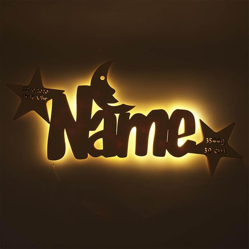 - Stern Mond Taufe Geschenk zur Geburt mit Namen - Onlineshop Schlummerlicht24