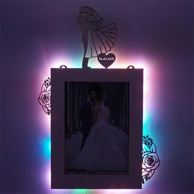 - RGB USB LED Bilderrahmen Wedding Hochzeit 20x30 cm - Onlineshop Schlummerlicht24