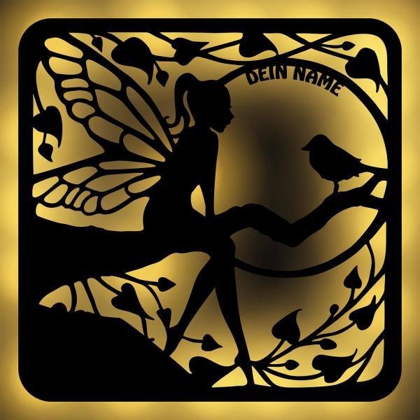 Waldfee Deko Wand Lampe mit Vogel auf Ast