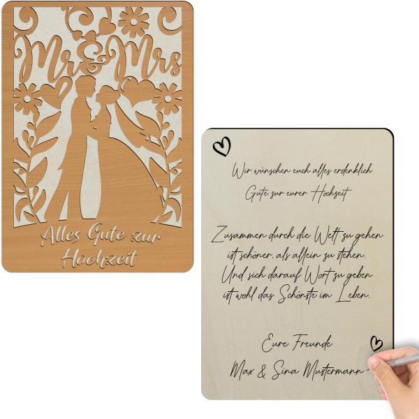 Glückwunschkarte aus Holz zur Hochzeit