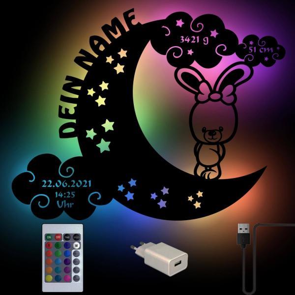 Farbwechsel USB Wand Lampe Hase auf Mond mit Namen personalisiert