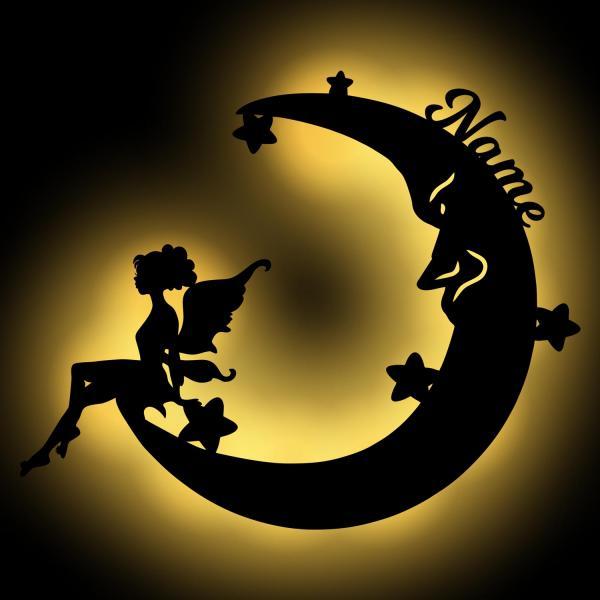 Fee auf Mond Geschenke Lampe