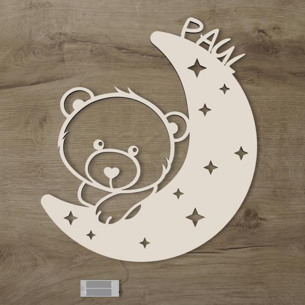 LED Nachtlicht Teddy Bär auf Mond mit Name personalisiert Kinderzimmer