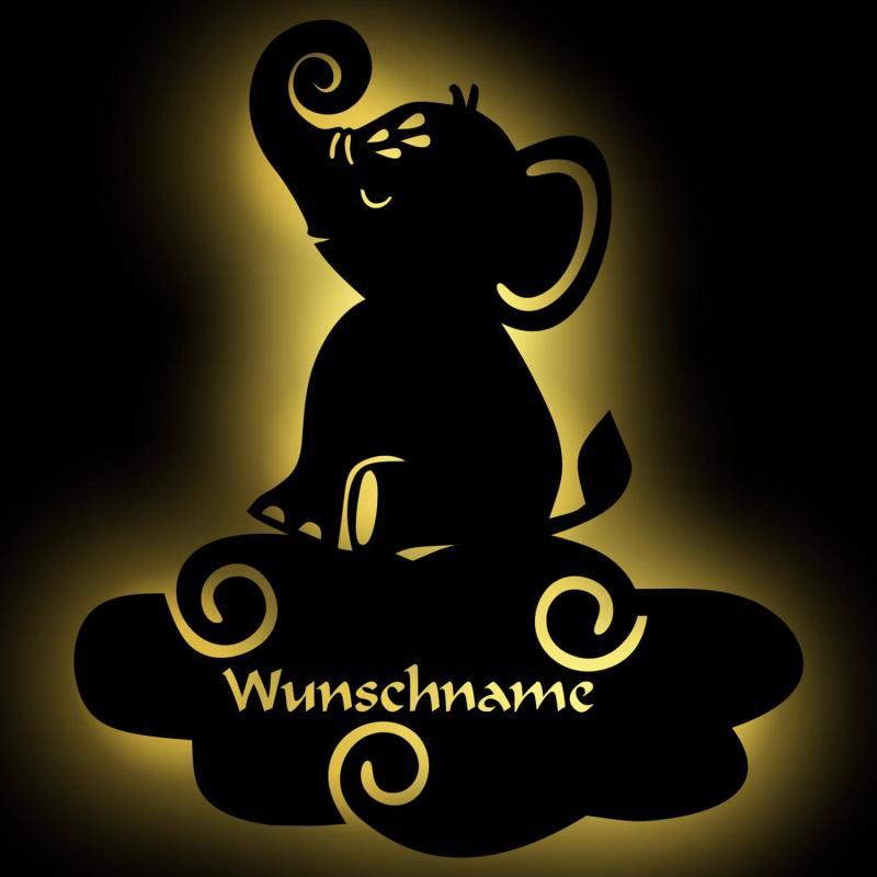 - Elefant auf Wolke personalisierbares Nachtlicht - Onlineshop Schlummerlicht24