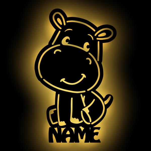 Hippo Nilpferd Wand Lampe Nachtlicht