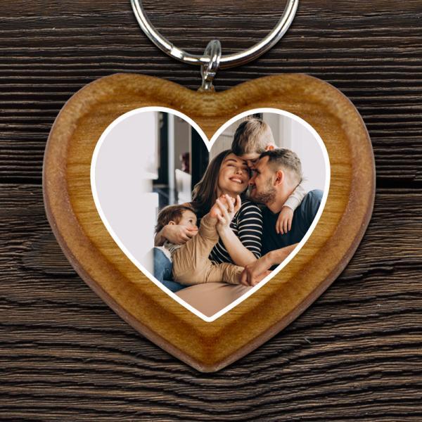 Holz Herz Schlüsselanhänger mit Foto bedruckt