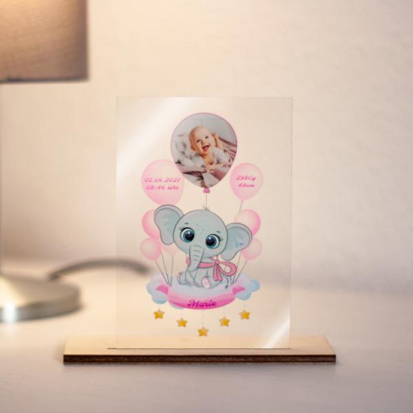 Acrylglas bedruckt für Babys mit Geburtsdaten personalisiert