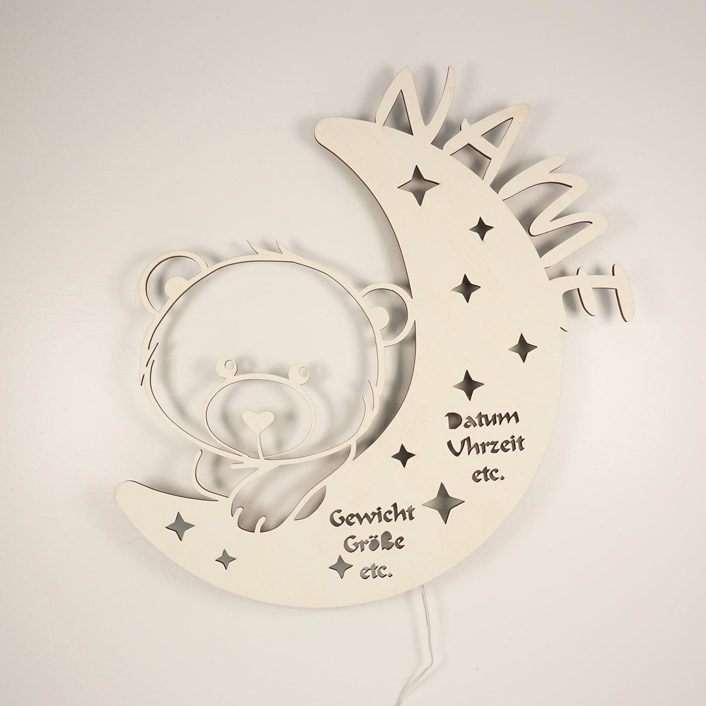 Geschenkartikel Teddy auf Mond Bilderrahmen mit Name