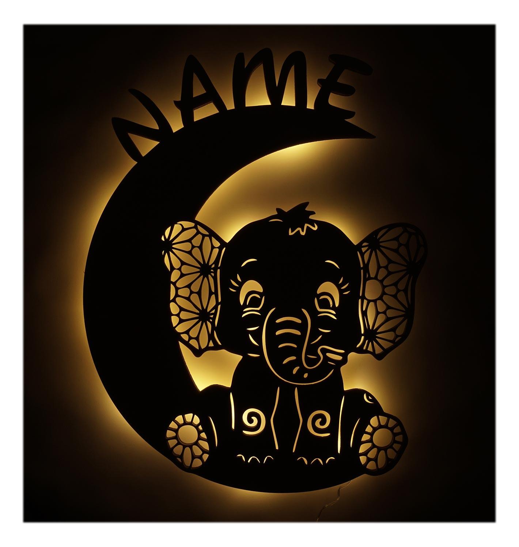 Susser Elefant Auf Mond Zur Taufe Madchen Junge