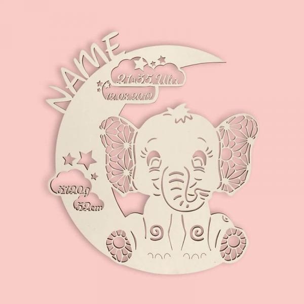 Elefant mit Namen und Geburtsdaten des Kindes