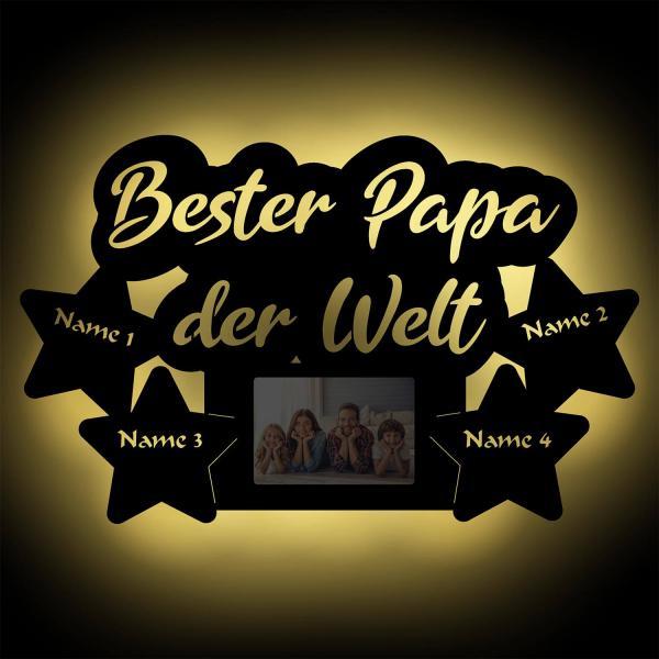 Wir lieben Dich Papa LED Holz Bilderrahmen + Namen