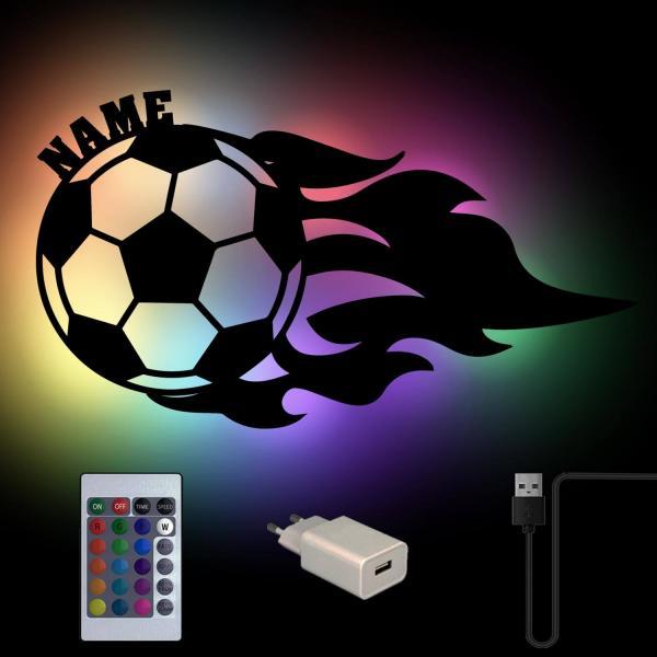 RGB USB Farbwechsel Fußball Lampe mit Namen