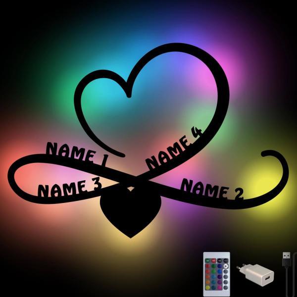 RGB Farbwechsel Familie Geschenk Idee mit 4 Namen Unendlichkeitszeichen