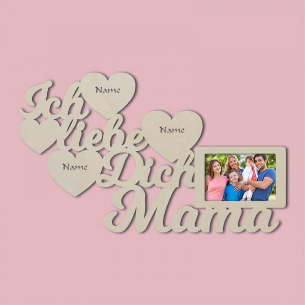 Bilderrahmen für die Mama Ich Liebe dich Muttertag Weihnachten Deko Unbehandelt
