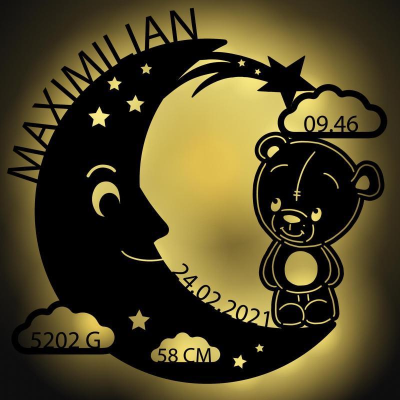 - Schlummerlicht Mond Teddy Personalisiertes Baby Geschenk - Onlineshop Schlummerlicht24