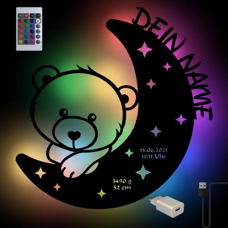 - USB Farbwechsel Bär auf dem Mond Holz Nachtlicht - Onlineshop Schlummerlicht24