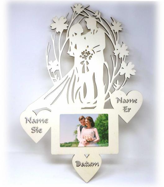 Hochzeitspaar Bilderrahmen zur Hochzeit Hochzeitsgeschenk + Name