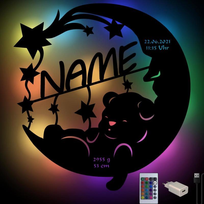 - Farbwechsel Bär auf Mond LED Holz Nachtlampe - Onlineshop Schlummerlicht24
