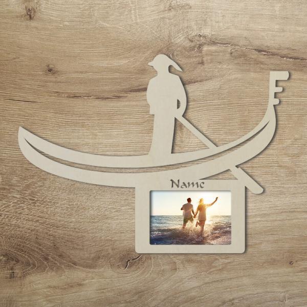 Italien Gondel Venedig Geschenkidee Tür-Schild Bilderrahmen Sovenier Geschenke Deko Unbehandelt