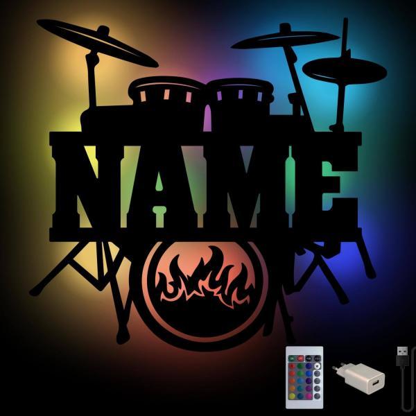 Schlagzeug Farbwechsel Wand Lampe personalisiert