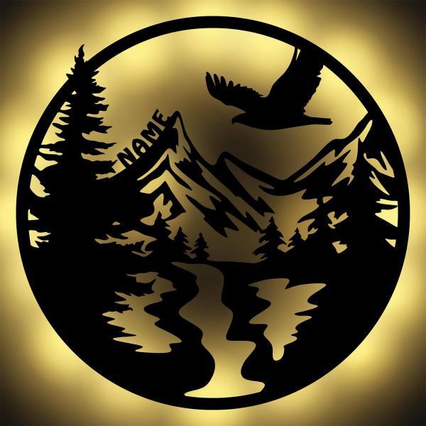 Wald Berge Adler Deko Nachtlicht Wand Lampe