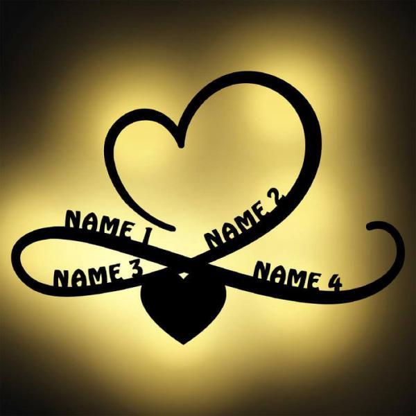 Familiengeschenk Infinity mit 4 Namen beleuchtet