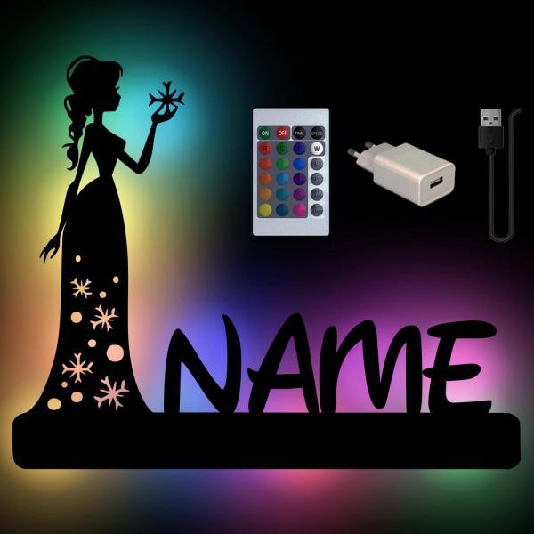 Eis Prinzessin Nachtlicht mit Namen und Farbwechsel