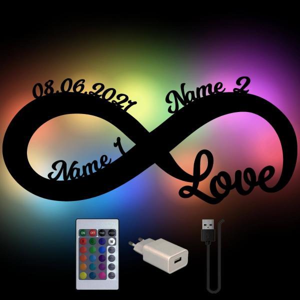 USB Farbwechsel Infinity Zeichen mit Namen