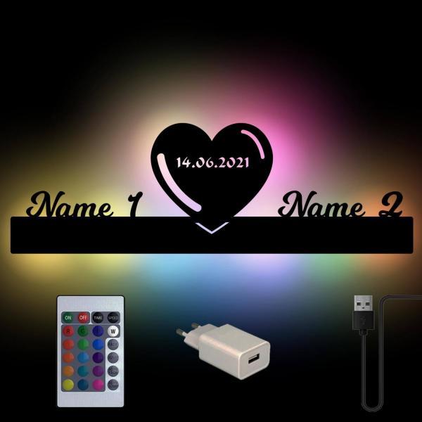 Herz Lampe mit Namen und Farbwechsel USB RGB