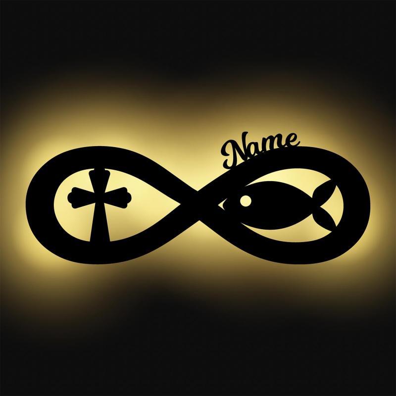 - Unendlichkeitszeichen Fisch und Kreuz zur Taufe mit Namen - Onlineshop Schlummerlicht24