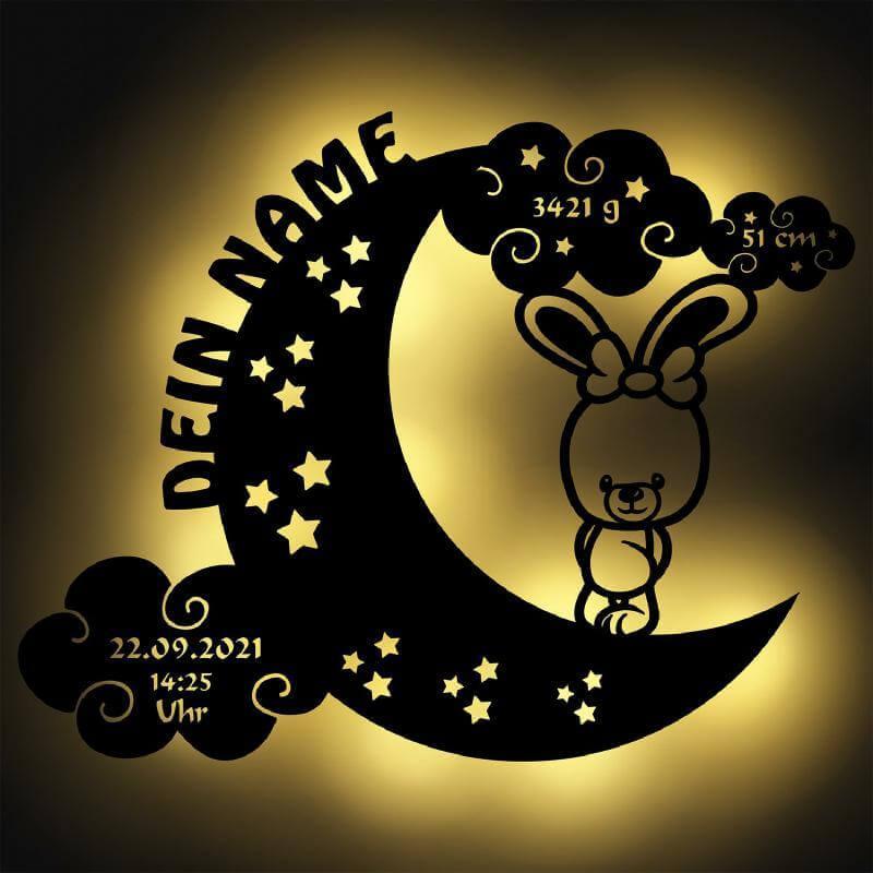 - Mond Hase mit Namen Nachtlicht - Onlineshop Schlummerlicht24