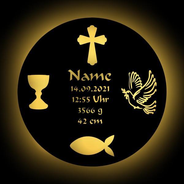 Taufteller zur Taufe Geschenkidee mit Namen aus Holz
