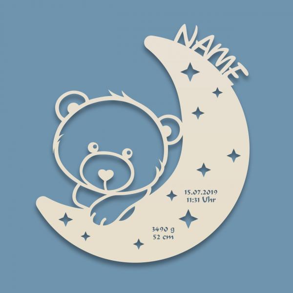 Teddy Nachtlicht Bär auf Mond personalisiert