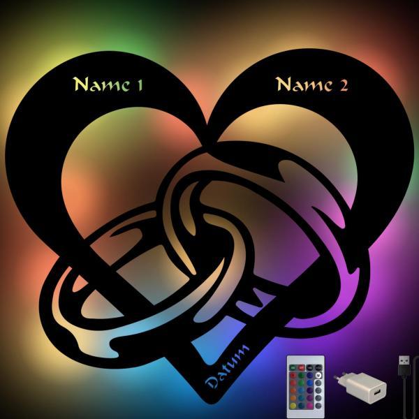 Herz mit Ringen RGB Farbwechsel Lampe