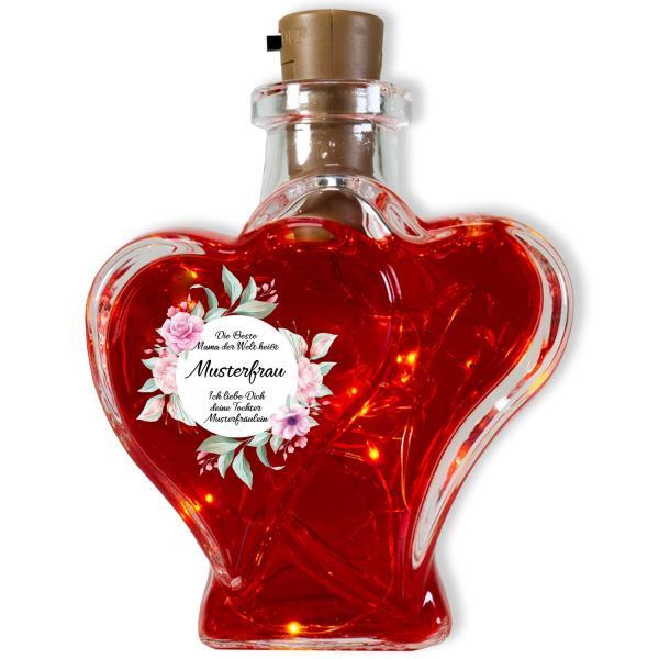 Flaschenlicht Mama Blumen