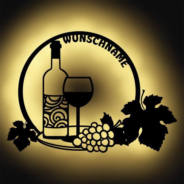 Wein Holz Deko Wand-Lampe Geschenke für Männer Frauen Damen Freundin zum Geburtstag I Batteriebetrieb