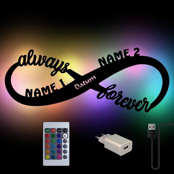 USB Farbwechsel Lampe Unendlichzeichen Always Forever mit Namen