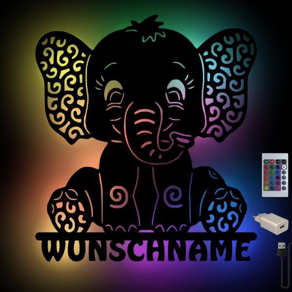 Elefanten Lampe mit Farbwechsel USB Nachtlicht