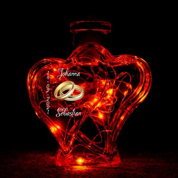 Flaschenlicht rot Herzen Hochzeit Ringe