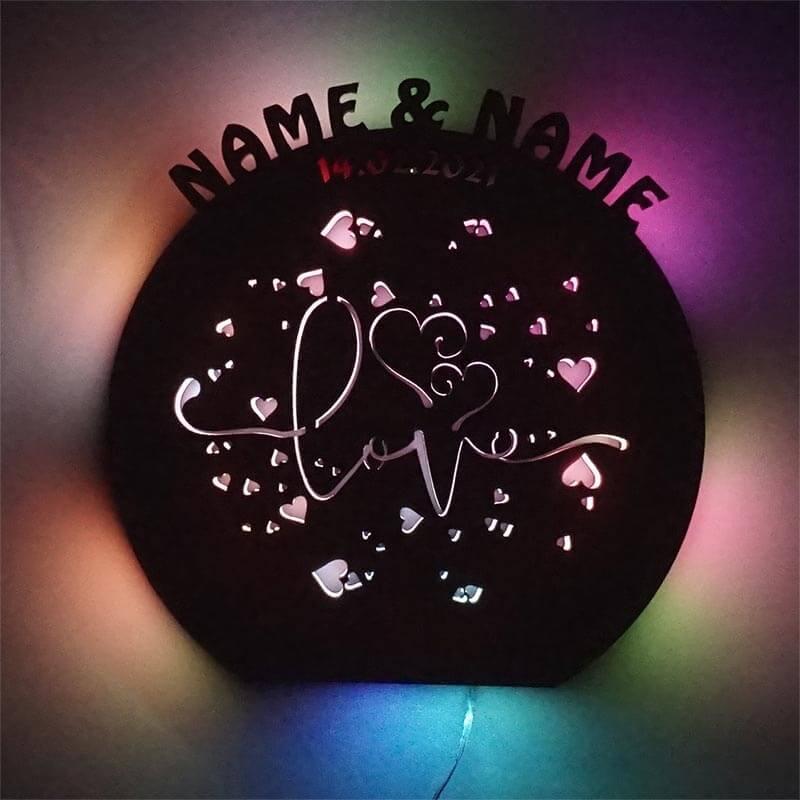 - Farbwechsel Leuchte Love Namen - Onlineshop Schlummerlicht24