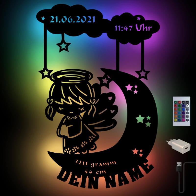 - USB Farbwechsel Mond Engel Holz Nachtlicht - Onlineshop Schlummerlicht24