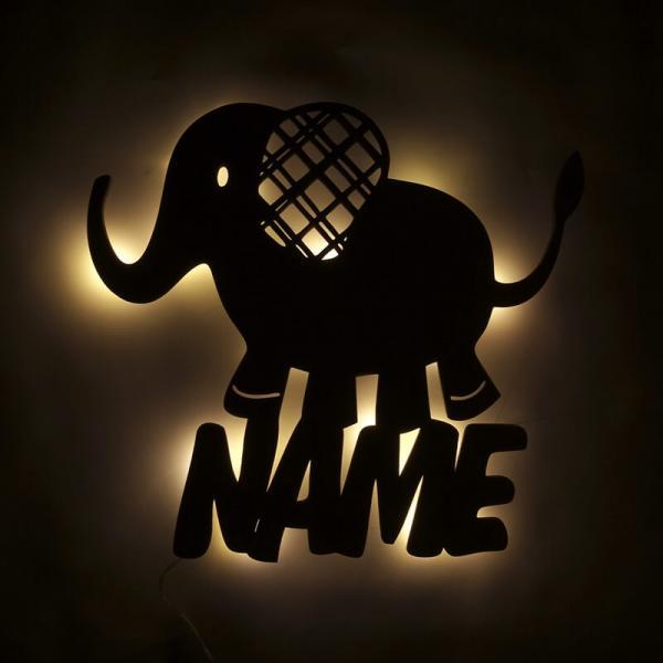 Nachtlicht Elefant mit Namen