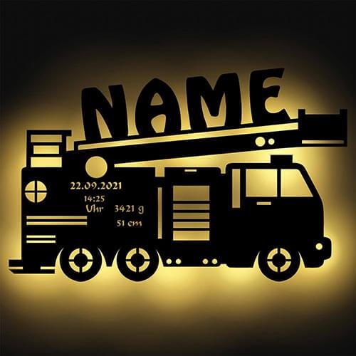Feuerwehrwagen-Lampe mit Namen