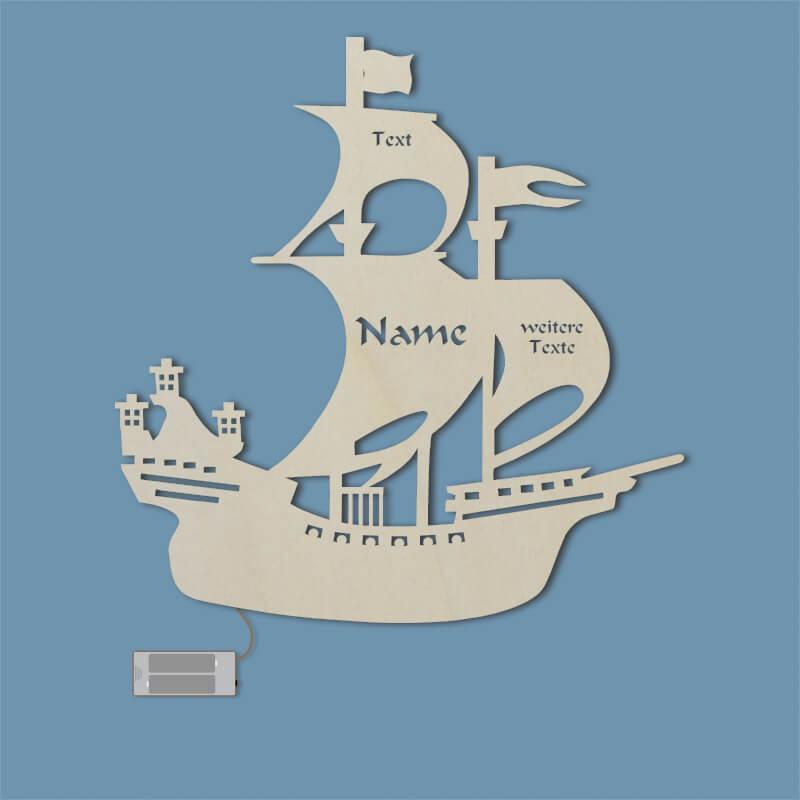 - Pirat Schiff Geschenke mit Name Nachtlicht - Onlineshop Schlummerlicht24