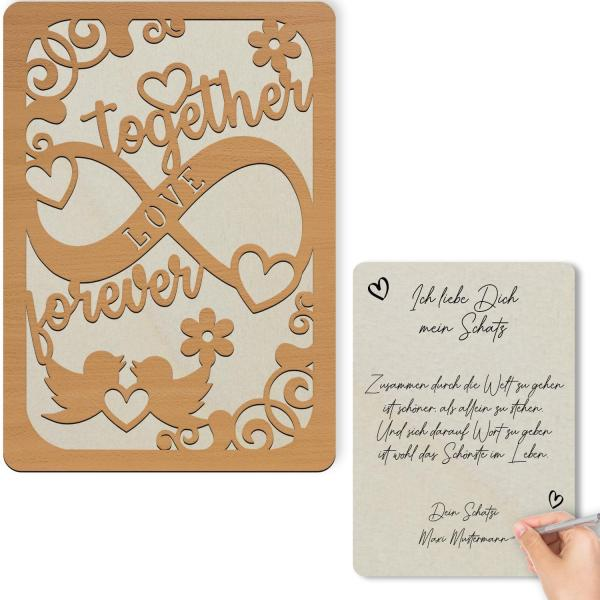 Holz Glückwunschkarte Liebe